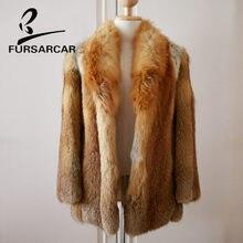 0a426ba54288 FURSARCAR Femmes Réel Manteau De Fourrure De Luxe Épais Chaud 75 cm Long Or  Renard Manteau De Fourrure D hiver Nouveau Style Fem.