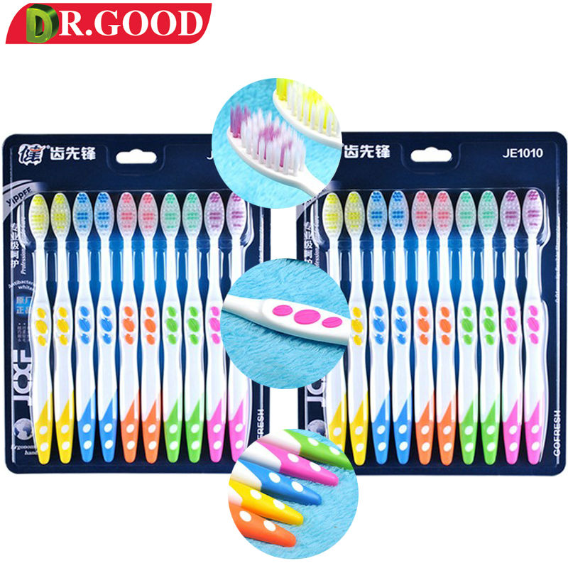 DR.GOOD 20Pcs/Pack Hard Travel Toothbrush Adults Tooth Brush Eco Friendly Soft Bristle For Teeth Whitening