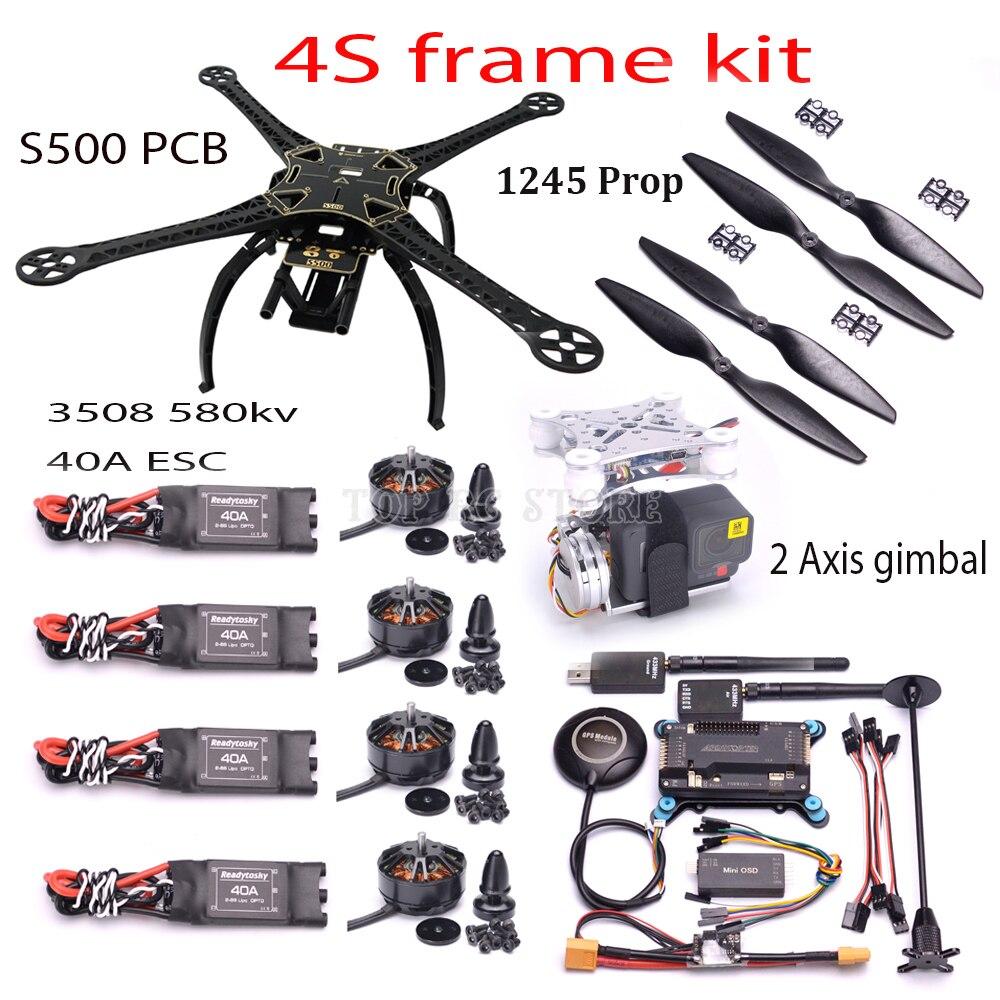 S500 500mm frame Quadcopter APM2.6 M8N GPS 433 Mhz telemetrie 3508 580kv motor 40A ESC 1245 2 axis gimbal voor Gopro 3 4 Hero 5 6-in Onderdelen & accessoires van Speelgoed & Hobbies op  Groep 1
