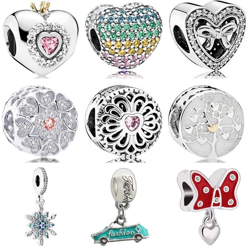 Charms Jewelry Snowflake Bow Heart-Beads Crystal Pineapple Car Women Enamel Original Pandora