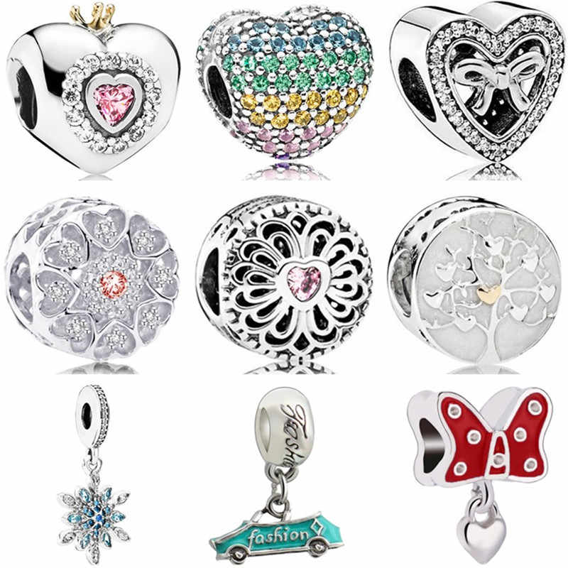 Simple Style Crystal Enamel Car Snowflake Bow Bell Pineapple Heart Beads Fit Original Pandora Charms for Women Making Jewelry