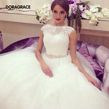 Romantic A Line Wedding Dresses Button Back Applique Lace Tulle Gowns Vestido de Noiva DG0018