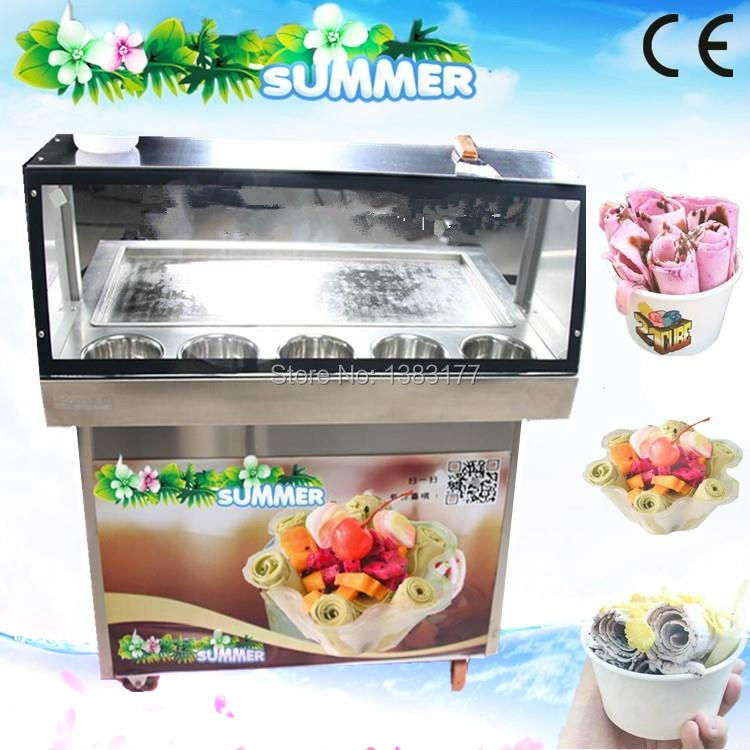 free ship CE double compressor freezing/frying/ fried ice cream roll machine  flat square big size pan thai ice roll machine double pressure ice frying machine double pan fried ice cream machine