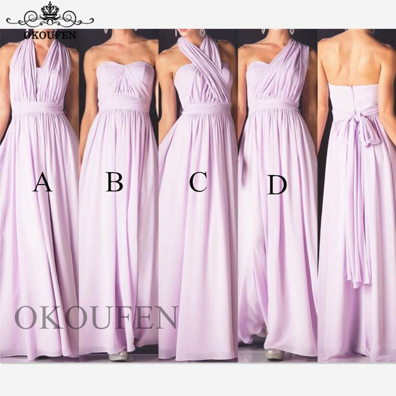 Convertible Lilac   Bridesmaid     Dresses   2019 Flowing Chiffon A Line Beach Bohemia Long Formal   Dress   Wedding Party Gown