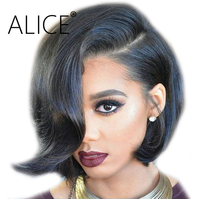 Alice 150 Percents Density Full Lace Human Hair Wig For Women Wavy Brazilian Remy Hair Wigs Side Part Pre Plucked Short Wigs Glueless by Alice