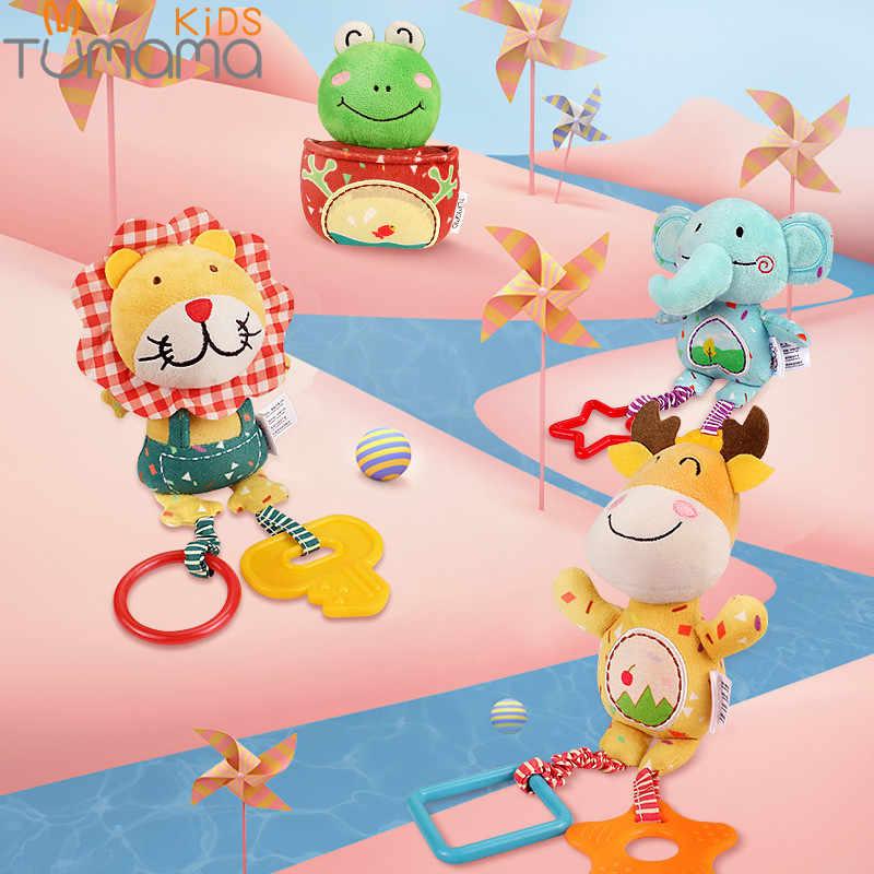 Детские плюшевые погремушки Tumama, 4 штуки, переносные подвесные игрушки для кроватки или коляски, ручной колокольчик в виде мультяшного оленя, лягушки, для младенцев в возрасте от 0 до 12 месяцев