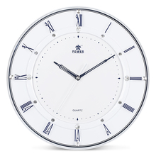 POWER Brand 14 Inch Large Wall Clock Modern living room the office Decor Quiet Sweep Movement  Round  Wall clock Roman numerals