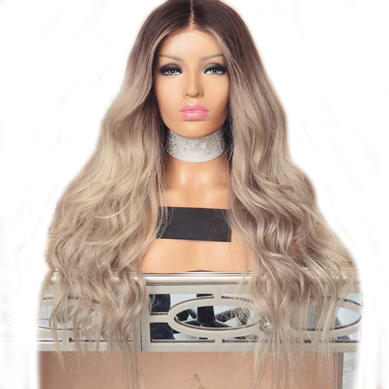 DLME Glueless Brown High Temperature Fiber Hair Wigs Natural Long Wavy Synthetic Lace Front Ombre Wig with Middle Part ...
