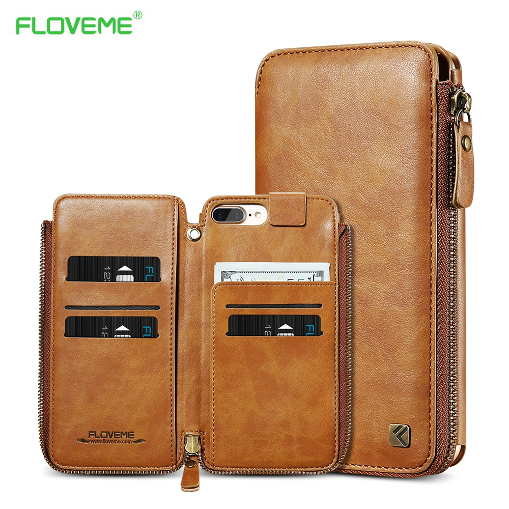 FLOVEME PU Leather Retro Flip Multi-function Removable Wallet Card Bag Holder Stand Cases For iPhone 6 6S 7 8 Plus Cover Shells