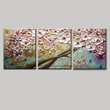 Modern blossom tree acrylic 3 panel modern flower acrylic floral knife canvas art picture wall art oil painting living room