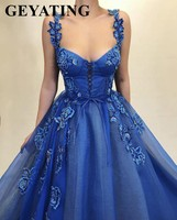 Vintage Lace up Blue Tulle Embroidery Evening Dress with Straps Sweetheart 3D Flowers Prom Dresses 2019 Long Graduation Gowns