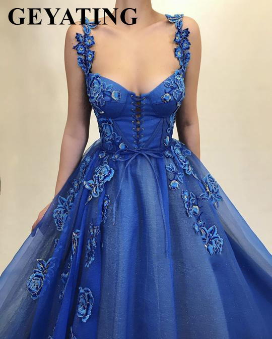 Vintage Lace-up Blue Tulle Embroidery   Evening     Dress   with Straps Sweetheart 3D Flowers Prom   Dresses   2019 Long Graduation Gowns