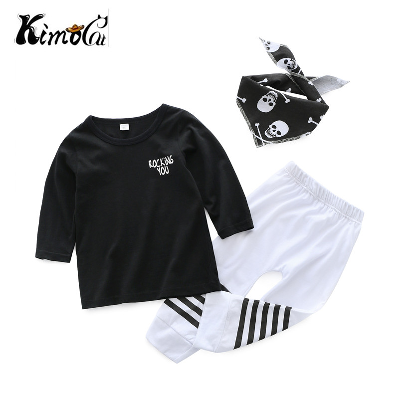 Kimocat 3Pcs/Set ! Baby Clothing Sets Autumn Baby Boys Clothes Infant Baby Skull scarf T-shirt+Pants Leggings 2pcs Outfits Set
