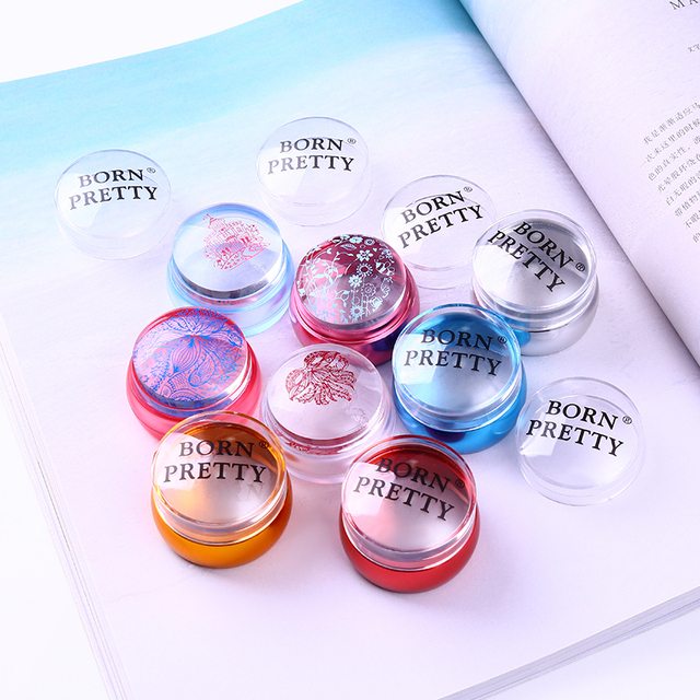 BORN PRETTY Clear Chess Silicone Nail Stamper with Scraper Colorful Handle Jelly Nail Stamper Manicure Stamp Template Tools