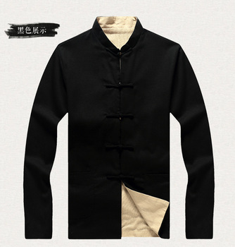 New Arrival Navy Blue Beige Reversible Male Kung Fu Jacket Chinese Men Cotton Linen Coat Two-sided Overcoat Size 3XL 4XL 5XL 6XL