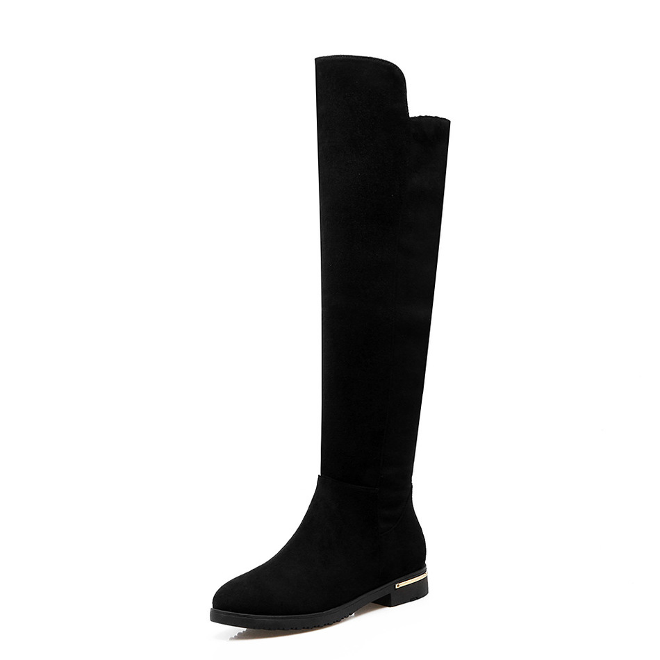 ФОТО Top Fashion New Spring Black Cow Suede Thigh High boots Zipper Round Toe Rubber Wedges Womens boots knee high boot Female Shoes