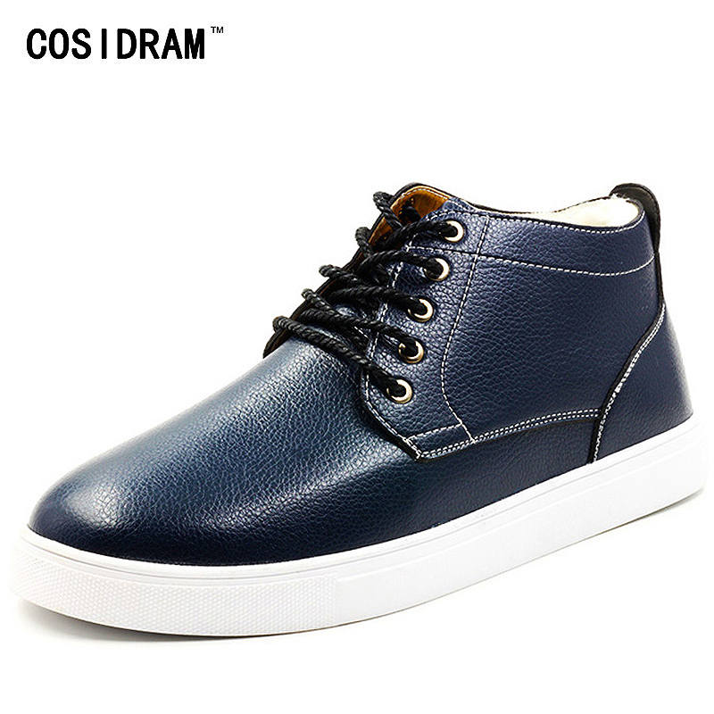 COSIDRAM Plus Size 48 Winter AAA Men Shoes With Fur PU Leather High Top Men Casual Shoes Warm Plush Male Footwear RMC-064 mivnskve 2017 men s real leather casual shoes cow suede men loafers flat with fur winter plush warm snow shoes plus size 38 46