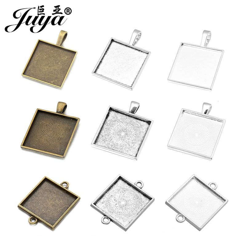 JUYA 25mm Square Alloy Cabochon Cameo Base Tray Blank Fit 25mm Glass Necklace Pendant DIY Jewelry Making Findings Wholesale