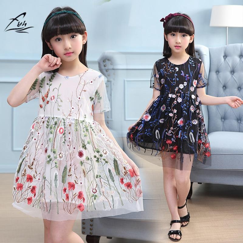 FYH Girs Clothing Summer Baby Girls Short Sleeve Embroidery Dress Teen Girls Princess Dress Ball Gown Summer Party Tutu Dresses ...