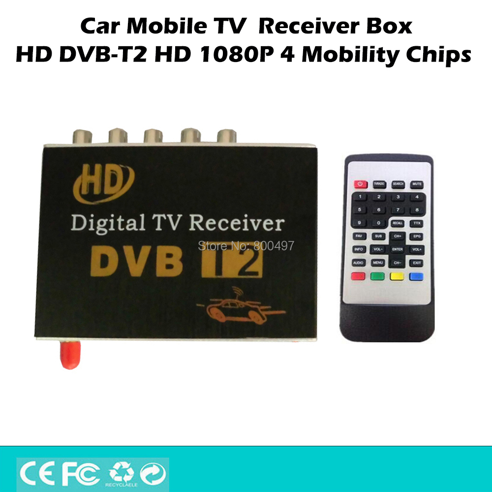 цена на Car HD 1080P HDMI CVBS Mobile Digital TV Receiver Mobile Car DVB-T2 MPEG4 MPEG2 Digital TV Tuner HD Receiver Box Set