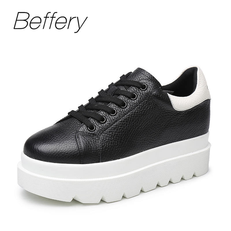 Beffery Spring Genuine Leather Women Casual Shoes Platform Wedge High heels Fashion Thick bottom Flats Shoes Women Sneakers beffery summer shoes women genuine leather fashion casual white woman shoes platform thick bottom shoes woman sneakers