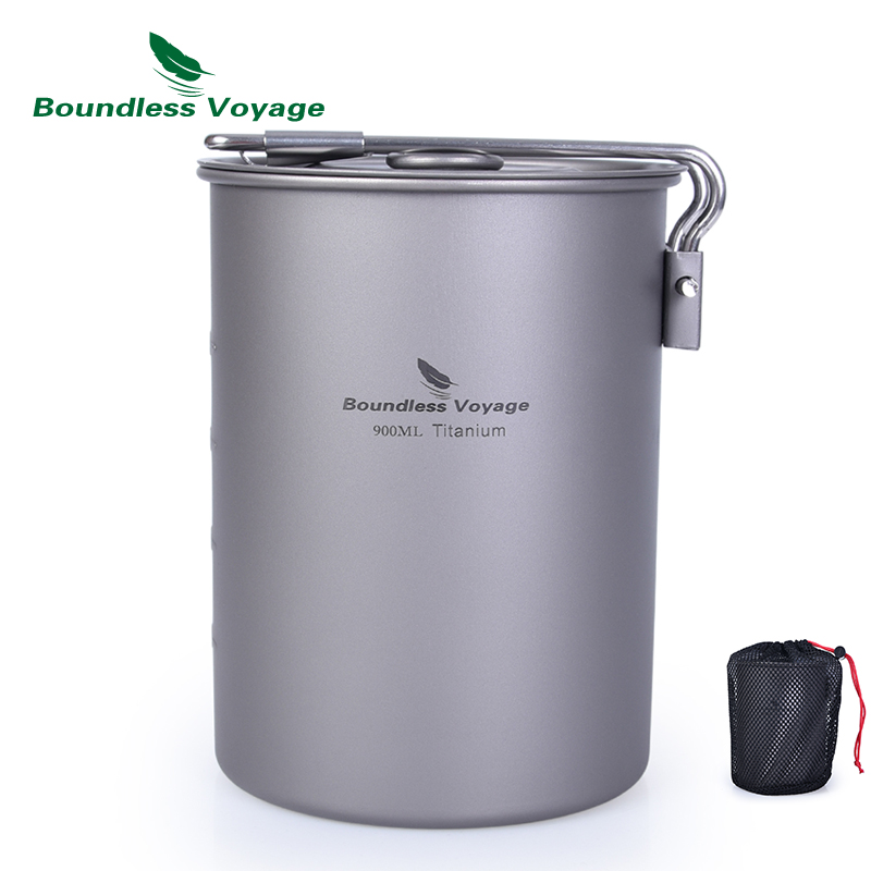 Boundless Voyage Titanium Pot With Lid Folding Handle Ultralight Camping Drinking Cup Cookware Cooking Utensils