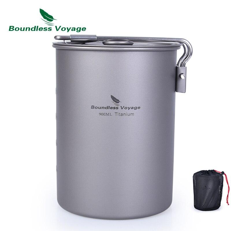 Pot de titane de Voyage sans limite avec couvercle poignée pliante ultra-légère Camping tasse à boire ustensiles de cuisine
