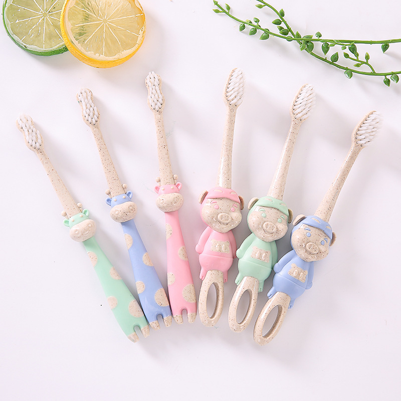 Eco friendly Wheat Kid Children Toothbrush Wheat Straw Soft Bristle Cartoon Giraffe Animal Mouth Oral Cleanning Health Brush image