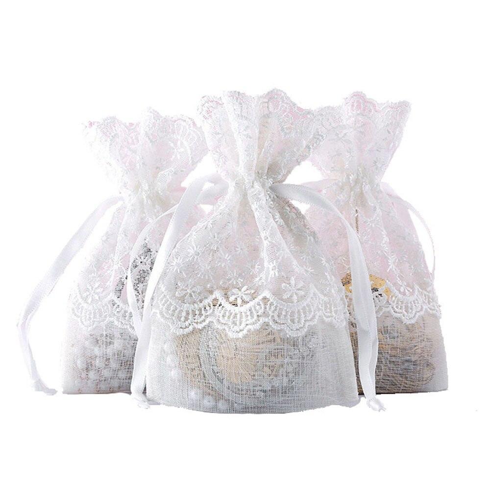 Organza cadeau sacs avec broderie dentelle 10x14 Organza cordon poche bijoux emballage fête mariage faveur