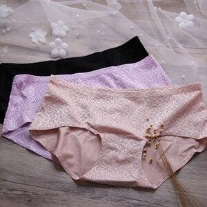 Image 3 - Комплект женского нижнего белья, 80 100 cd бюстгальтер и трусики большого размера, цельный, бесшовный, тонкий, с отверстиями, модное, жаккардовое нижнее белье