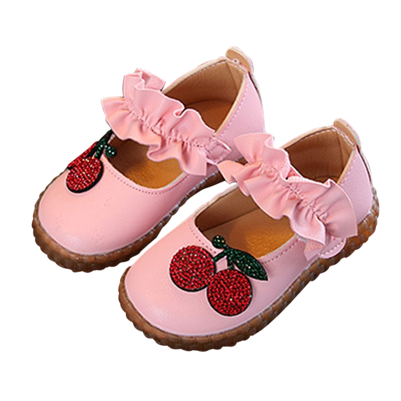 2019 Spring Baby Girl Shoes Breathable Rhinestone Cherry Anti-Slip Shoes Casual Sneakers Toddler Soft Soled First Walkers Super