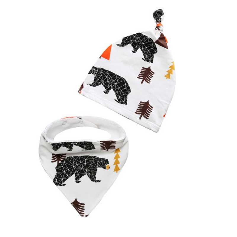 2 piezas estampado dibujos animados animales gorras + Baberos bufanda niño recién nacido sombrero trajes bebé niños niñas sombreros de algodón conjunto para 0-2Y