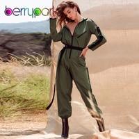 BerryPark 2019 Cargo Army Green Women Long Sleeve Jumpsuit Pocket Cool Streetwear Zipper Patchwork Romper with Belt Dropshipping