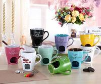 Free Shipping Ceramic Chocolate Cup Podjarka Furnace Hagendasi Cheese Small Pot Fondue Cup Fondue Set With