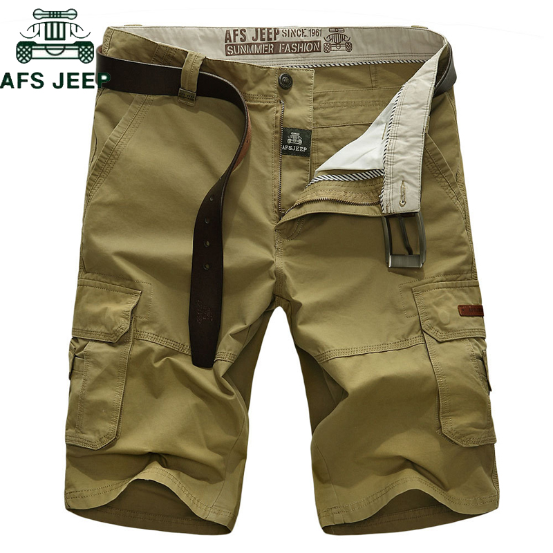 AFS JEEP Brand Men Cargo Shorts Multi-pocket Casual Loose Short Pants Men bermuda masculina Army Military Tactical Short homme