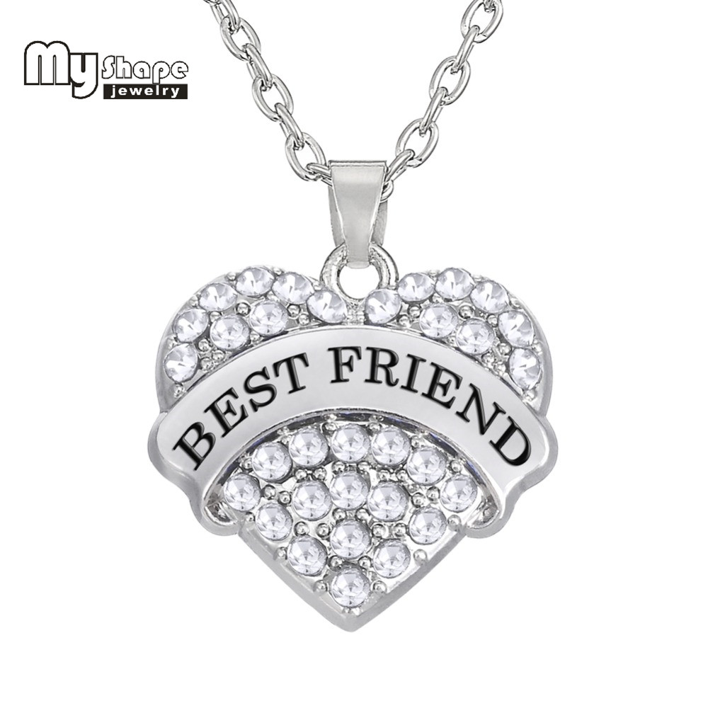 my shape rhodium plated Heart Crystal Rhinestone Pendant Necklace friendship gift best friend necklace For Women Her & His Love image