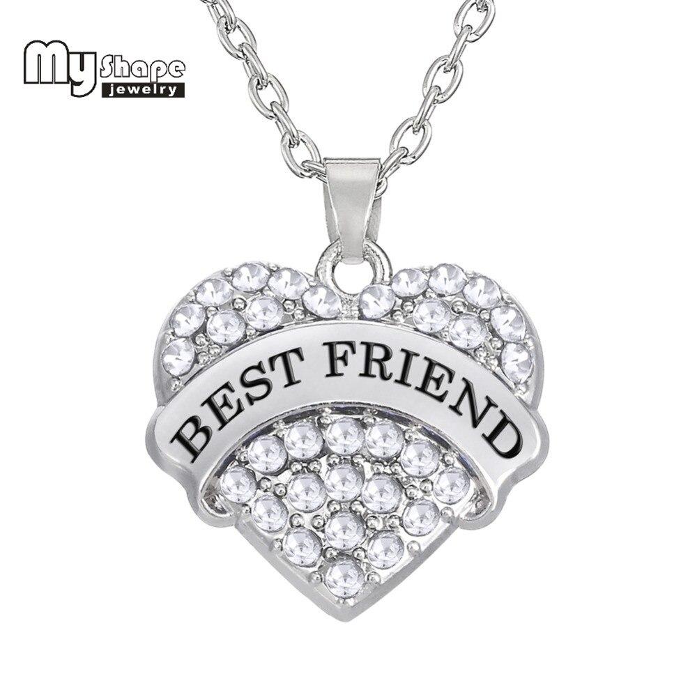 Saya Bentuk Berlapis Rhodium Jantung Crystal Rhinestone Set Kalung Cincin Rodhium Liontin Persahabatan Hadiah Terbaik Teman Untuk Wanita Dia Kasih