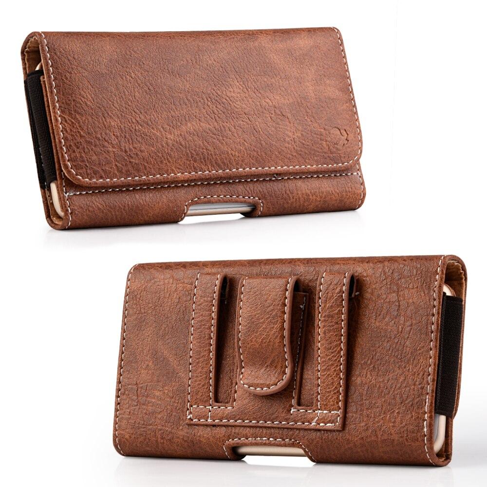 Universal caso de telefone Clipe para Cinto Capa Dupla Bolsa saco de Cartão de Crédito Coldre Preto Virar PU Bolsa de Couro de negócios para o Telefone