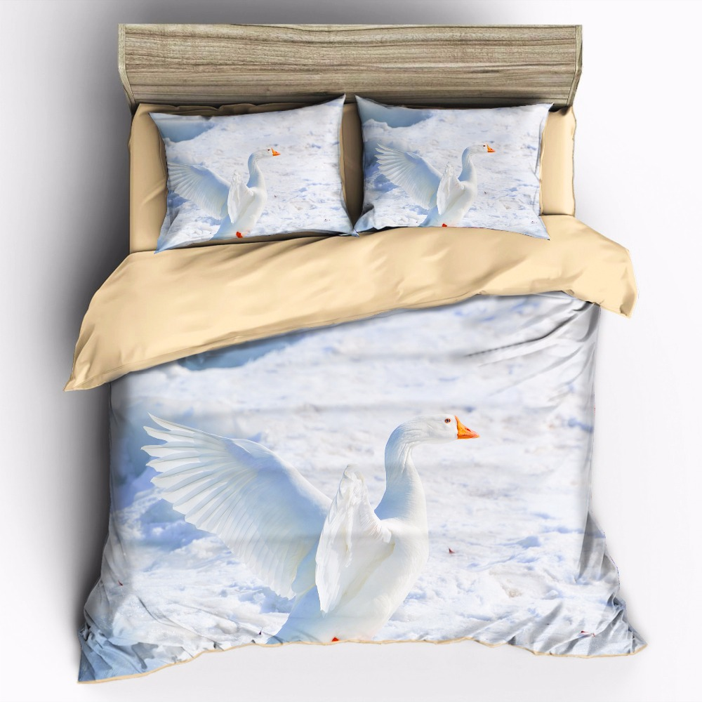 AHSNME Very beautiful picture of a white duck in the snow Bedding Sets Duvet Cover pillowcase setAHSNME Very beautiful picture of a white duck in the snow Bedding Sets Duvet Cover pillowcase set
