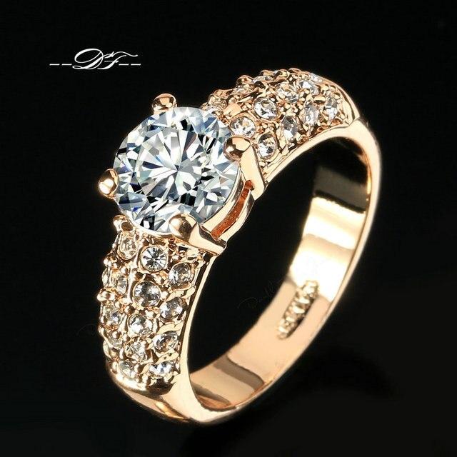 Обручальные Кольца CZ Алмазов 18 К Роуз Позолоченные Мода Марка Rhinestone Ювелирных Изделий Кольца Для Женщин анель Оптовая DFR105