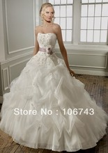 2013 new style best  seiier Sexy bride wedding Custom size sashes lace flowers pleat weindding  dress