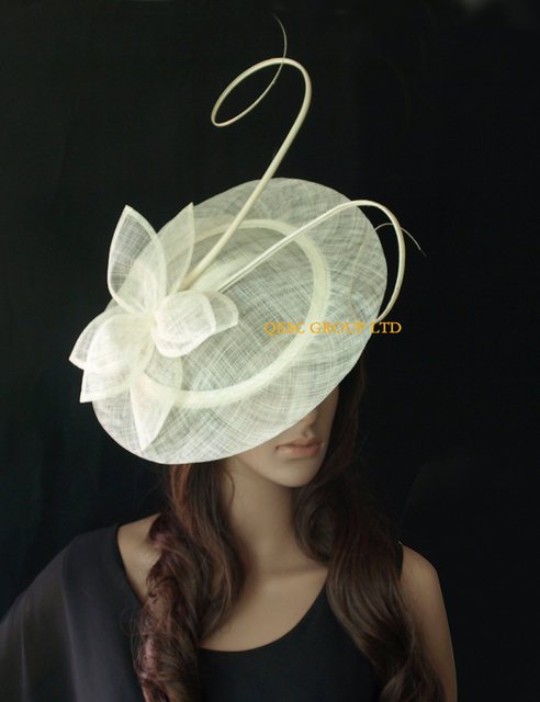 New Cream Ivory Sinamay Fascinator Hat Wedding Tea With Ostrich Spine