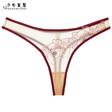 shaonvmeiwu Ladies see-through mesh T word underwear thin transparent embroidery sexy pants wine red winter