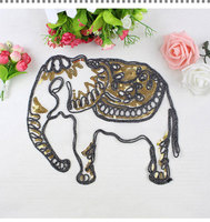 BT377 Giá Nhà Máy Bán Buôn Mới Nhất Thời Trang vàng Ấn Độ Elephant Vá May hoặc Sắt về vải Miễn Phí Vận Chuyển