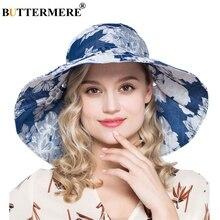 BUTTERMERE Azul Marinho Chapéus de Verão Mulheres Flor Aba Larga Praia  Chapéu de sol Feminino Organza Ocasional Balde Caps Senho. 461a06dc4b7