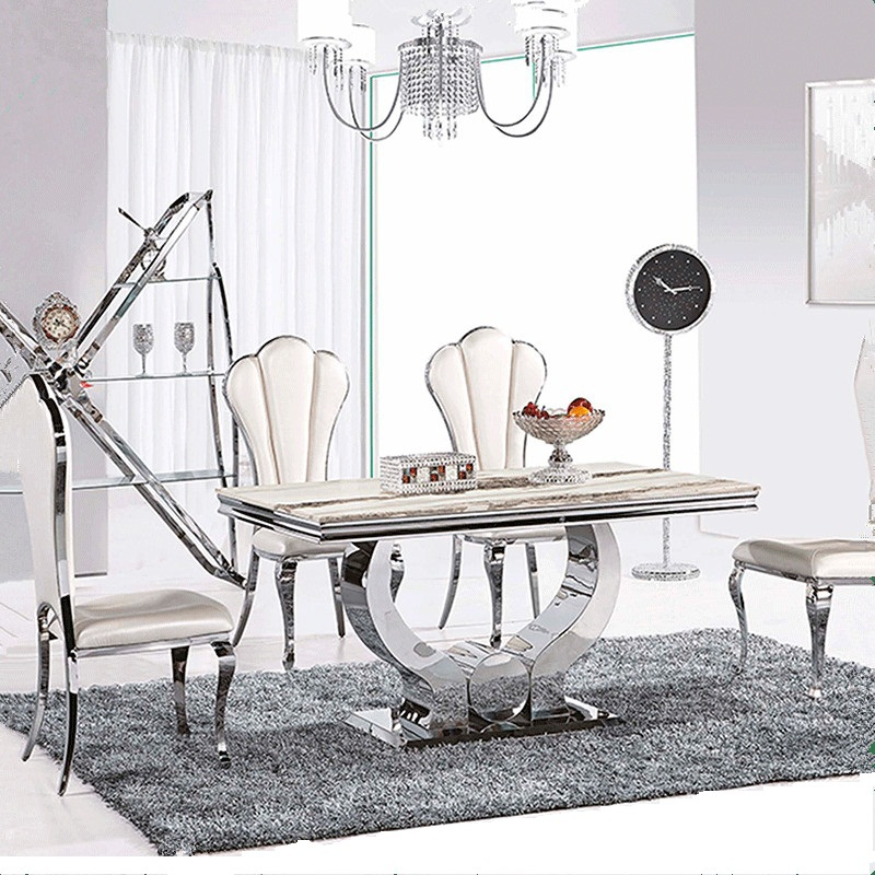 Hot Sale Dining Table Marble Top Modern Living Room Furniture Stainless Steel Send From China Fast Shipping In Tables On