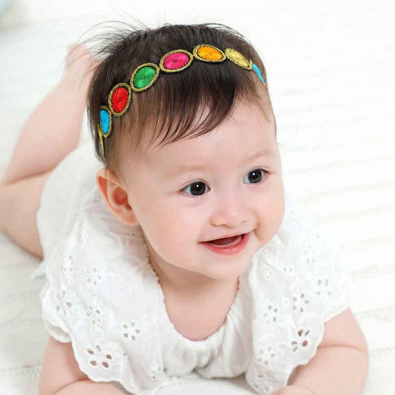 Accesorios para el cabello con corona floral para bebé flores hechas a mano rosas adorables niños Arco Iris diademas coloridas flores para niña HB413S