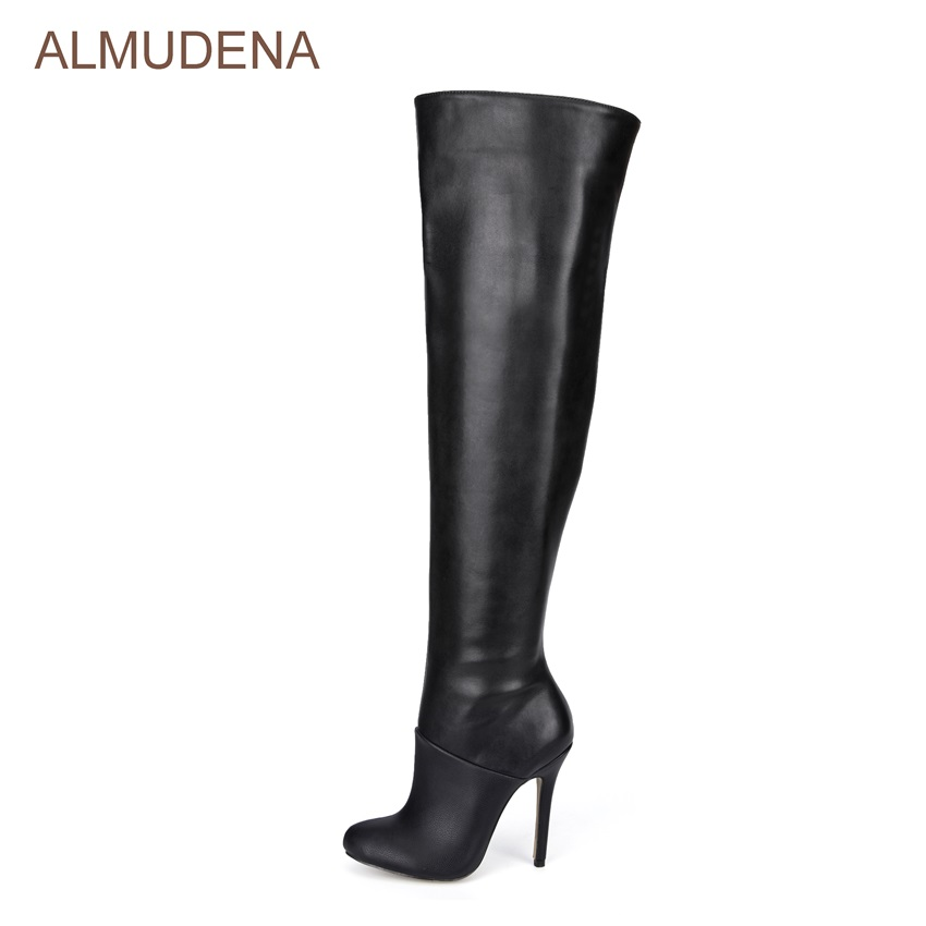 ALMUDENA Celebrity Black Long Boots Size Zipped Thin High Heel Dress Boots Patchwork Stage Gladiator Boots Outdoor Chic Shoes k200 door vane knife sk40 door parts for thyssen elevator parts