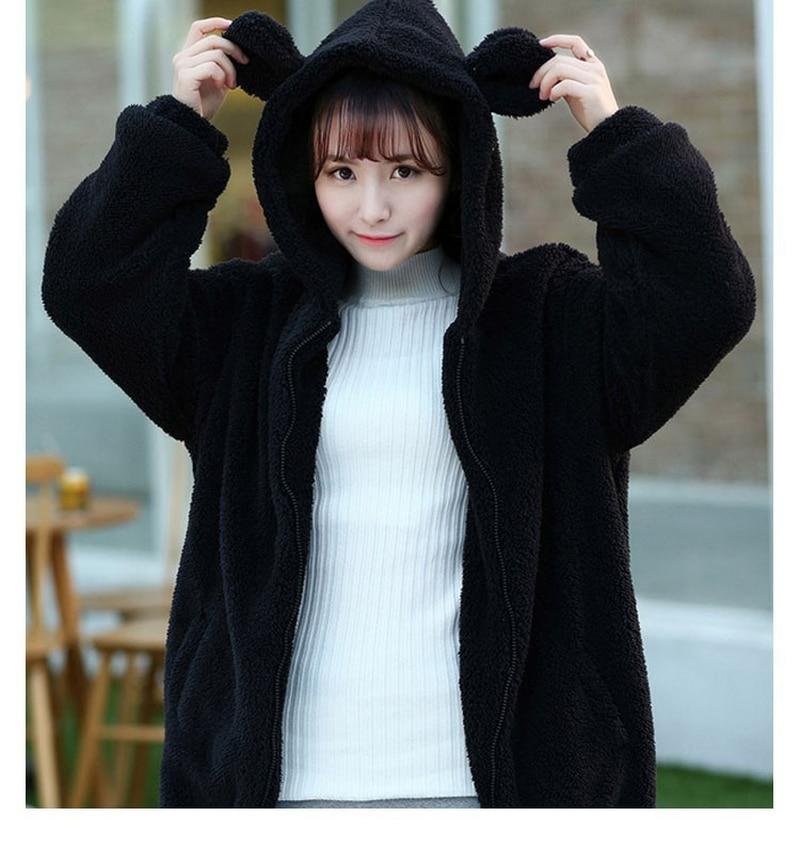 Женская Толстовка Harajuku с капюшоном на молнии для девочек, зимняя свободная пушистая куртка с капюшоном с ушками медведя, теплое пальто, милый свитер для женщин