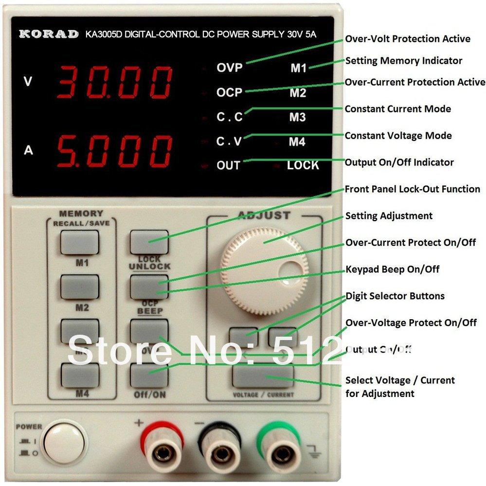 KORAD KA3005D - Precision Variable Adjustable 30V, 5A DC Power Supply Digital Regulated Lab Grade  220V